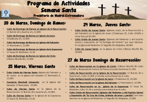 Cartel actividades de semana santa